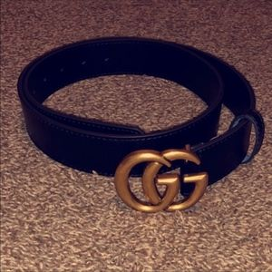 Leather Belt w/ Double G Buckle